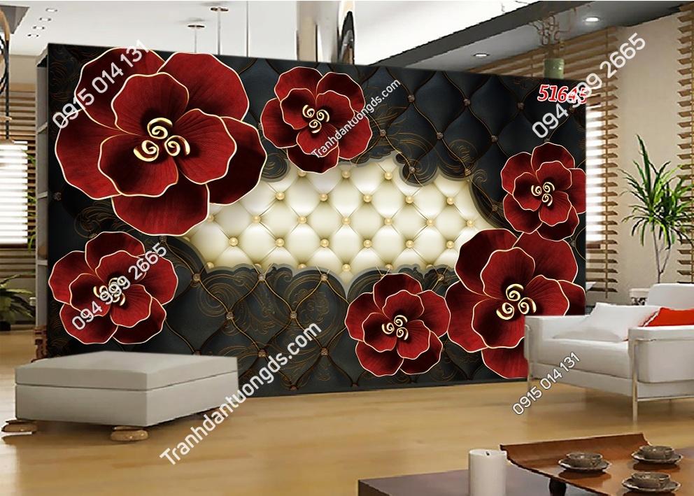 Tranh dán tường hoa 3D màu đỏ 51645