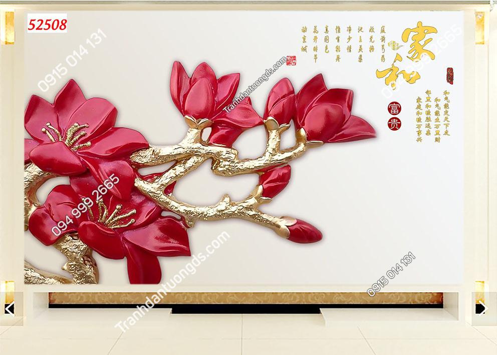 Tranh dán tường hoa 3D màu đỏ 52508