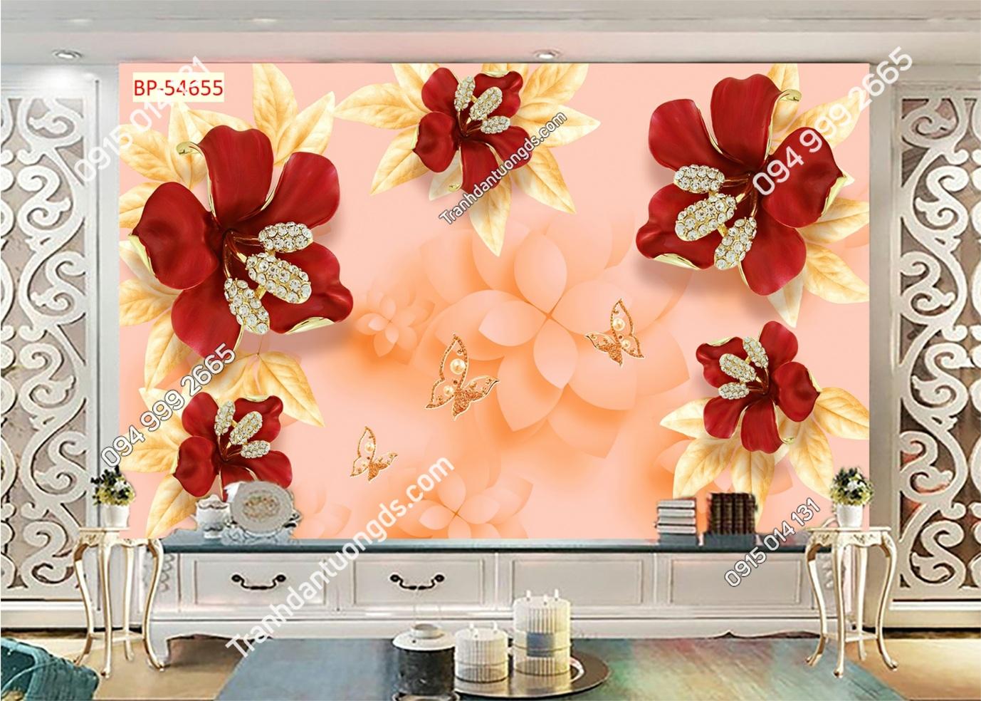 Tranh dán tường hoa 3D màu đỏ 54655