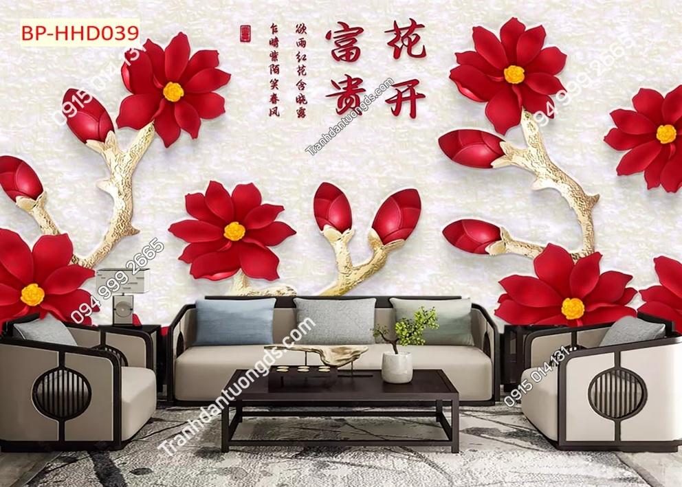 Tranh dán tường hoa 3D màu đỏ HHD039