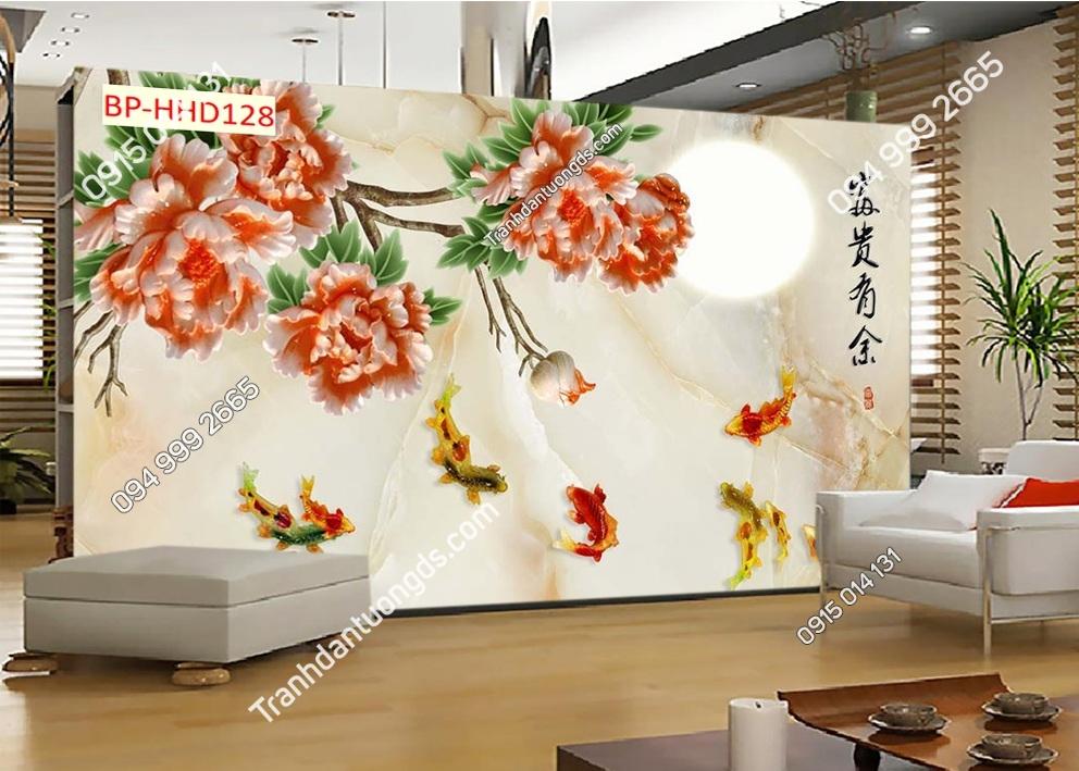 Tranh dán tường hoa 3D màu đỏ HHD128