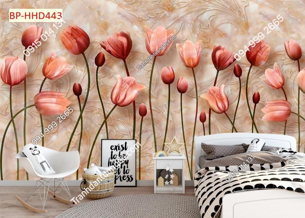 Tranh dán tường hoa 3D màu đỏ HHD443
