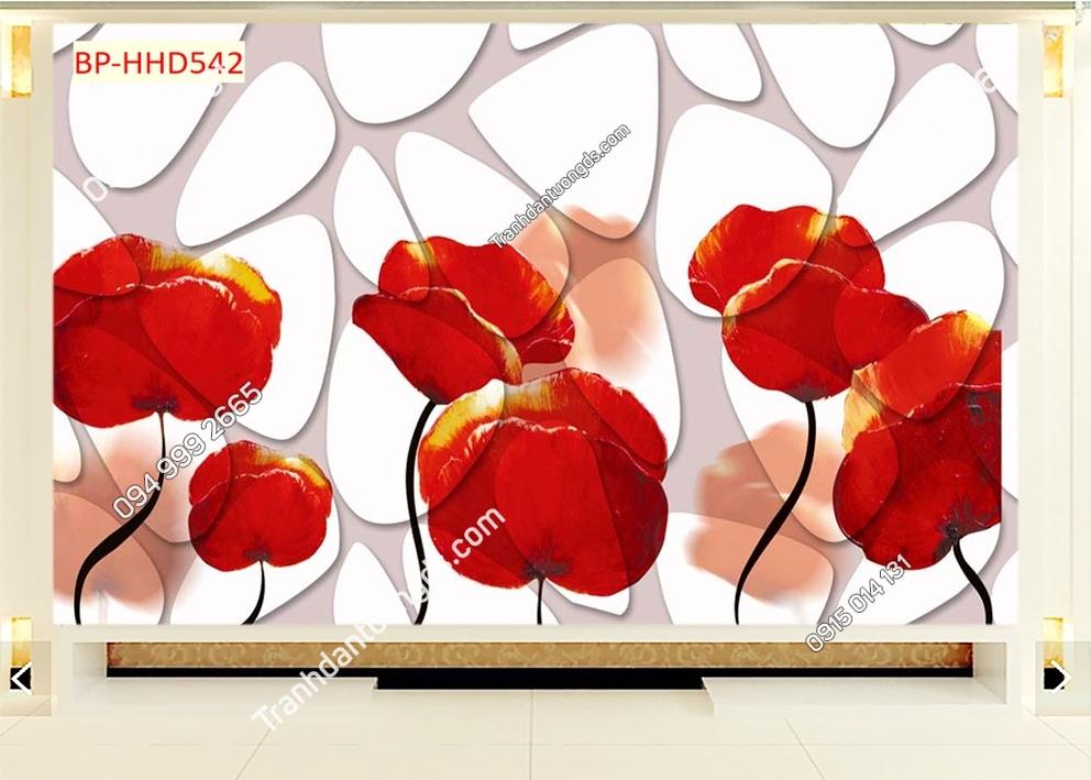 Tranh dán tường hoa 3D màu đỏ HHD542