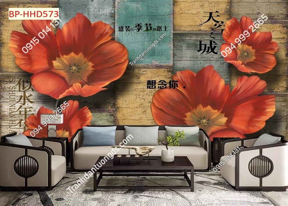 Tranh dán tường hoa 3D màu đỏ HHD573