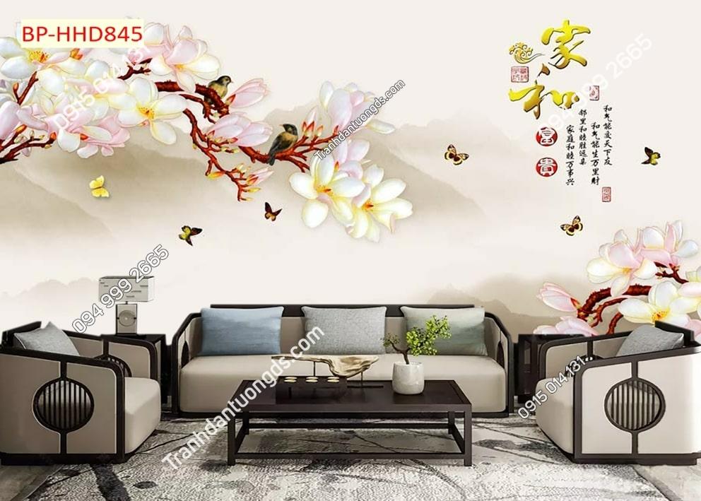 Tranh dán tường hoa 3D màu hồng HHD845