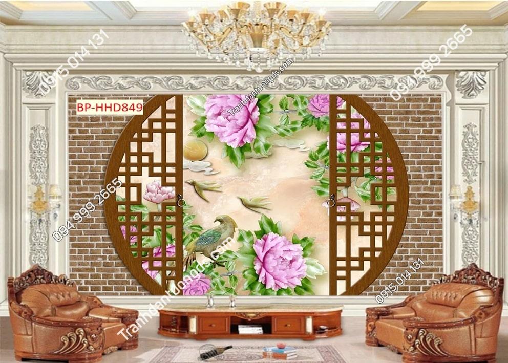 Tranh dán tường hoa 3D màu hồng HHD849