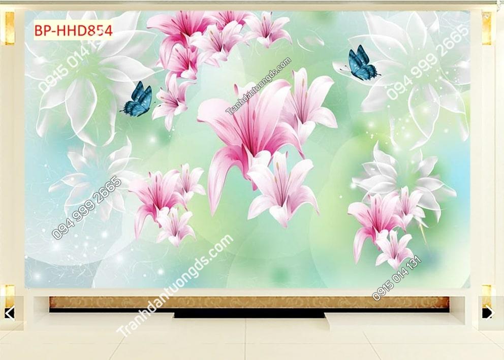 Tranh dán tường hoa 3D màu hồng HHD854