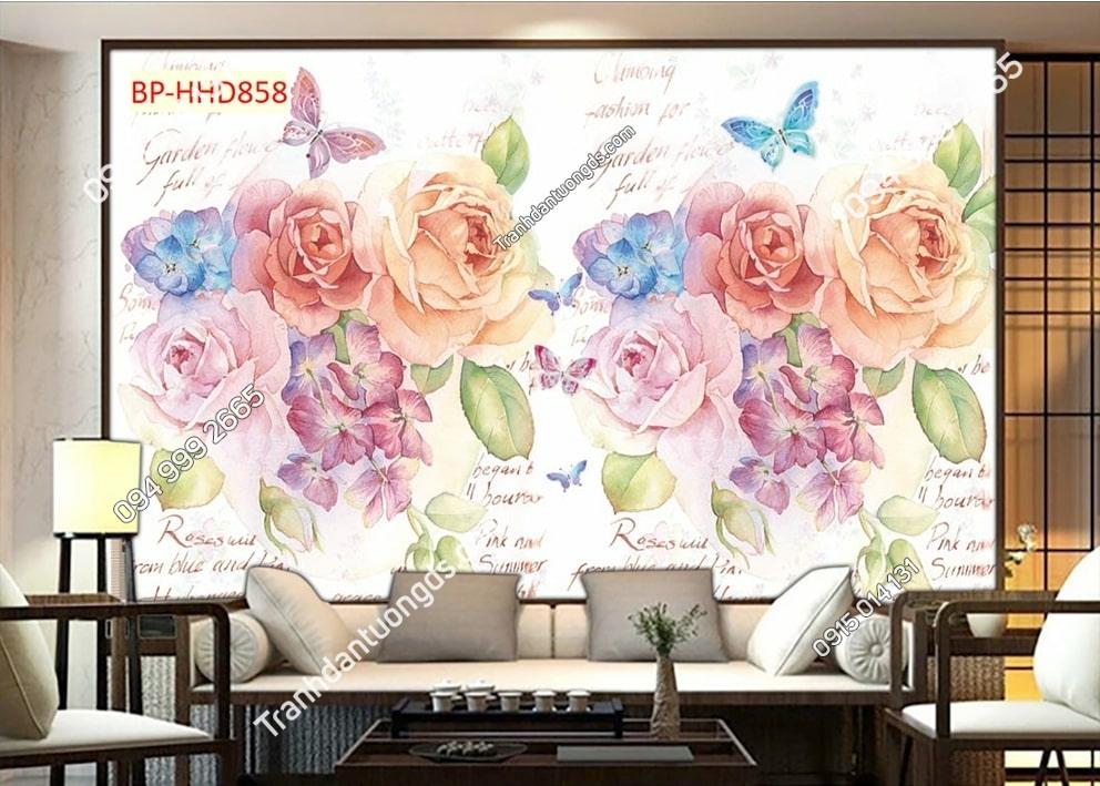 Tranh dán tường hoa 3D màu hồng HHD858