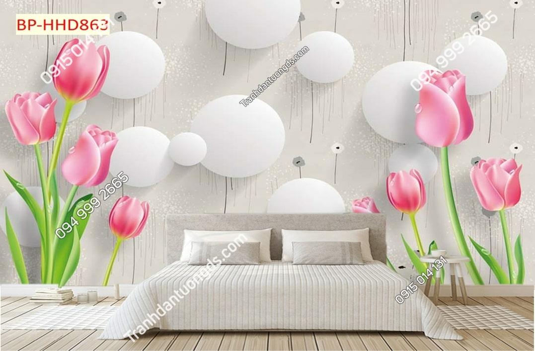 Tranh dán tường hoa 3D màu hồng HHD863