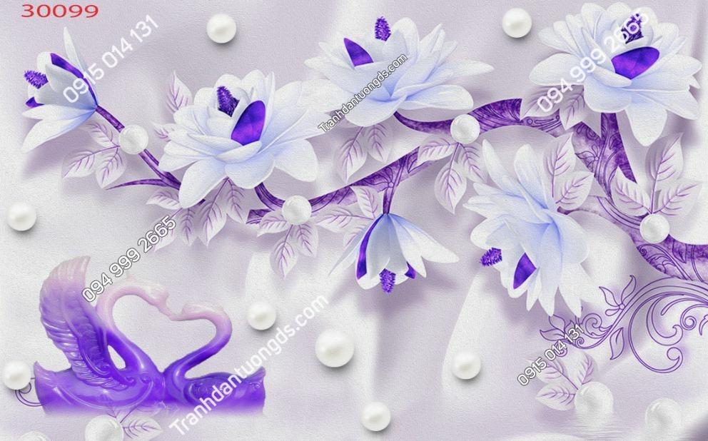 Tranh dán tường hoa 3D màu tím 30099