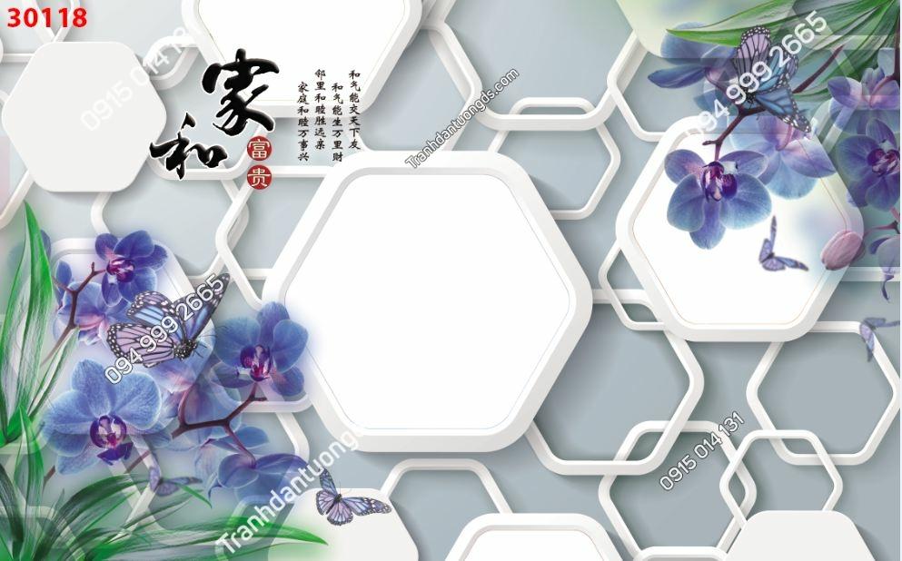 Tranh dán tường hoa 3D màu tím 30118