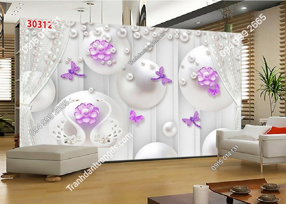 Tranh dán tường hoa 3D màu tím 30312