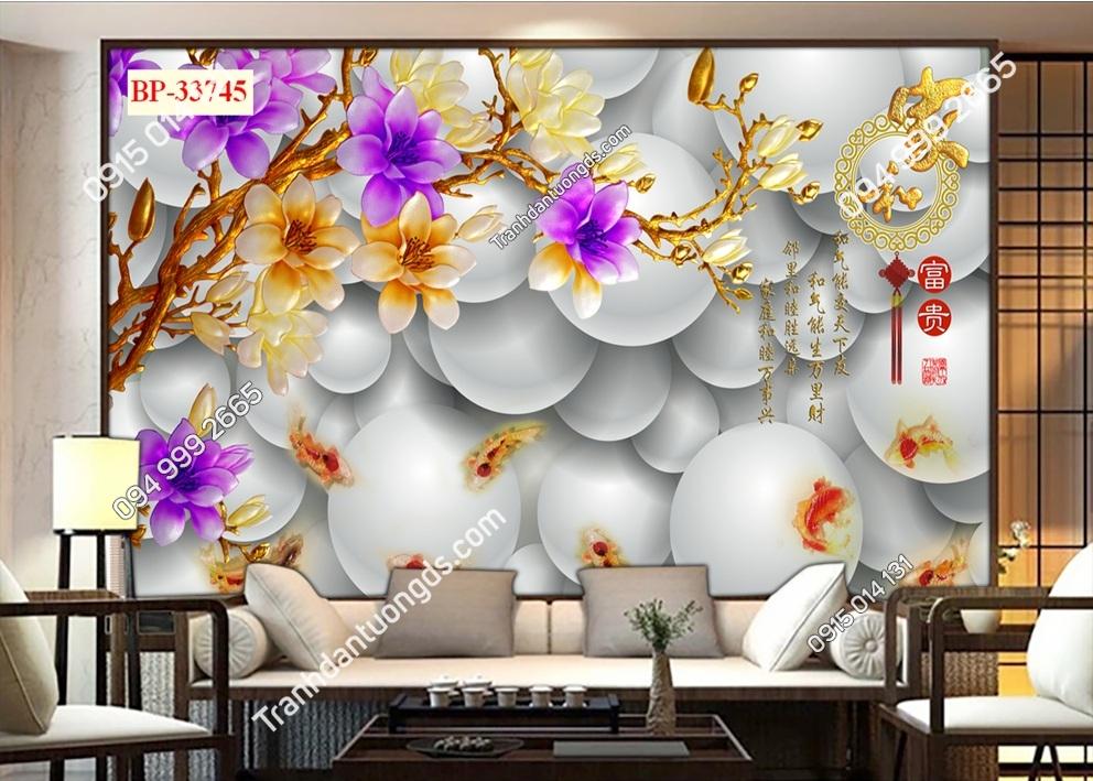 Tranh dán tường hoa 3D màu tím 33745