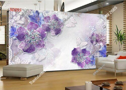 Tranh dán tường hoa 3D màu tím 50355