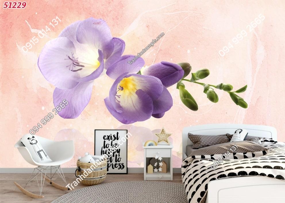 Tranh dán tường hoa 3D màu tím 51229
