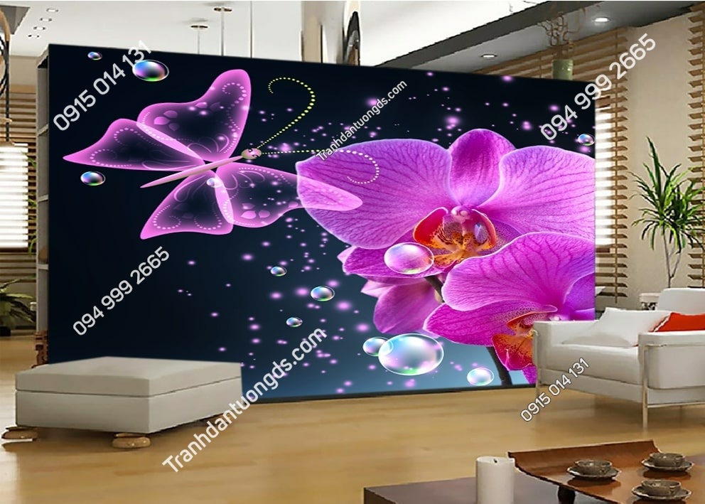 Tranh dán tường hoa 3D màu tím 51460