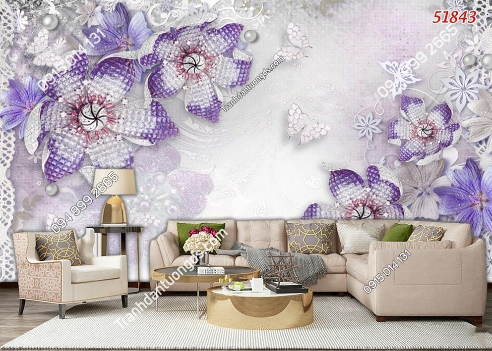 Tranh dán tường hoa 3D màu tím 51843
