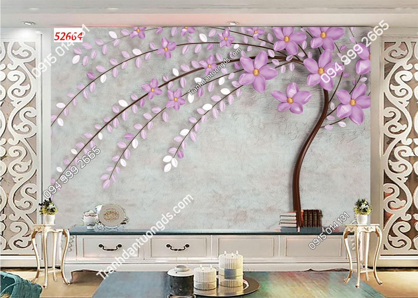 Tranh dán tường hoa 3D màu tím 52664