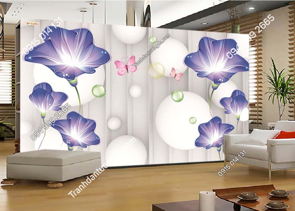 Tranh dán tường hoa 3D màu tím 52951