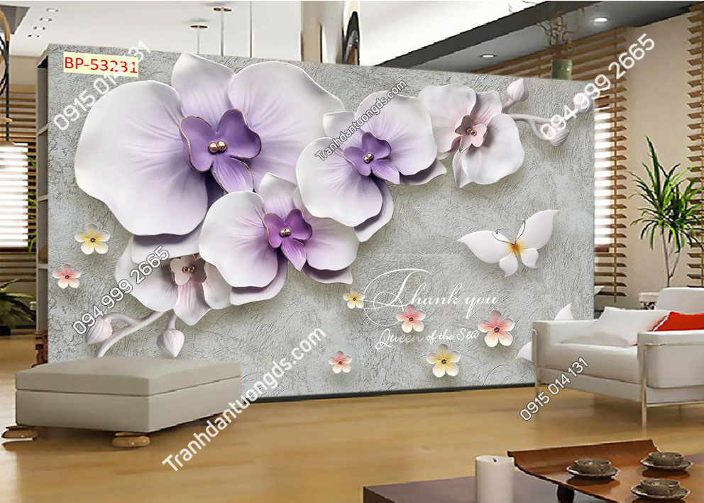 Tranh dán tường hoa 3D màu tím 53231