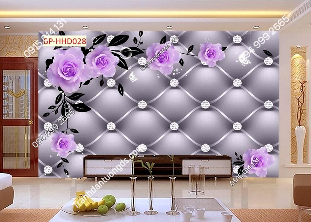Tranh dán tường hoa 3D màu tím HHD028