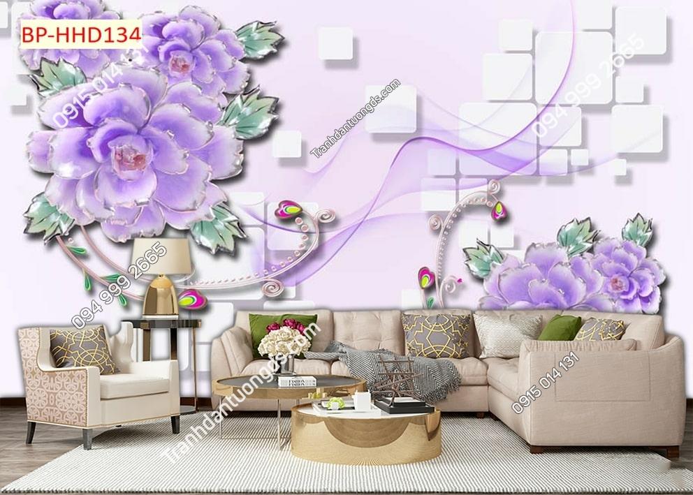 Tranh dán tường hoa 3D màu tím HHD134