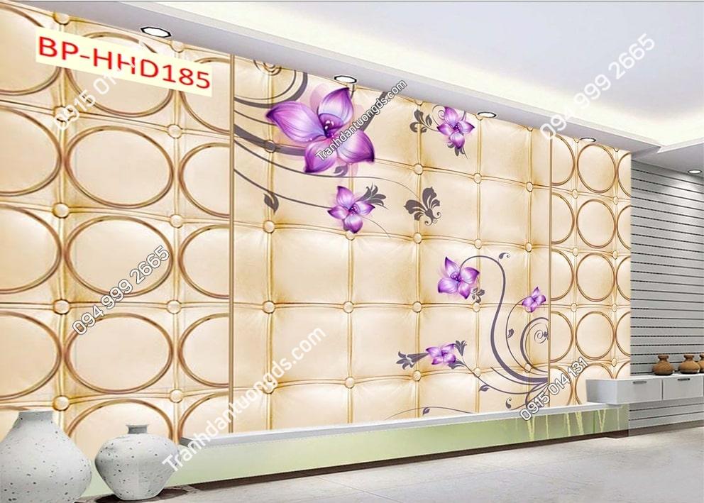 Tranh dán tường hoa 3D màu tím HHD185