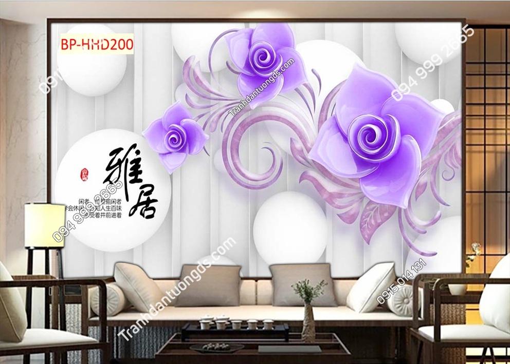 Tranh dán tường hoa 3D màu tím HHD200