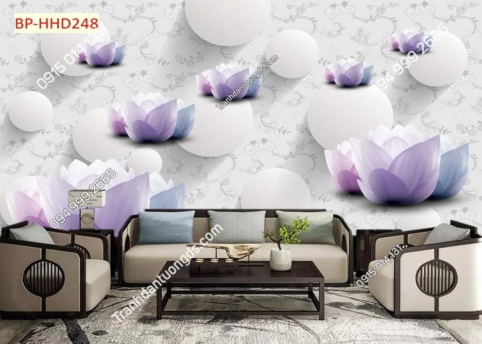 Tranh dán tường hoa 3D màu tím HHD248