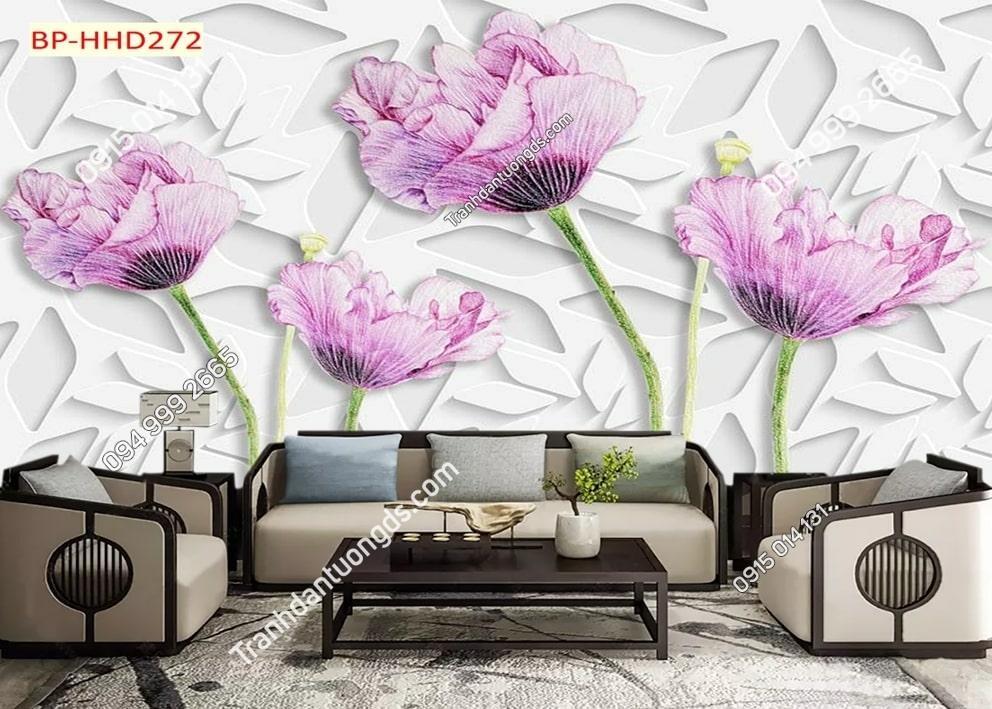 Tranh dán tường hoa 3D màu tím HHD272