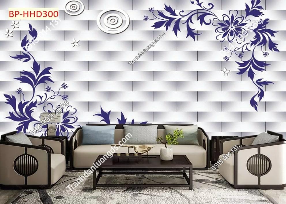 Tranh dán tường hoa 3D màu tím HHD300