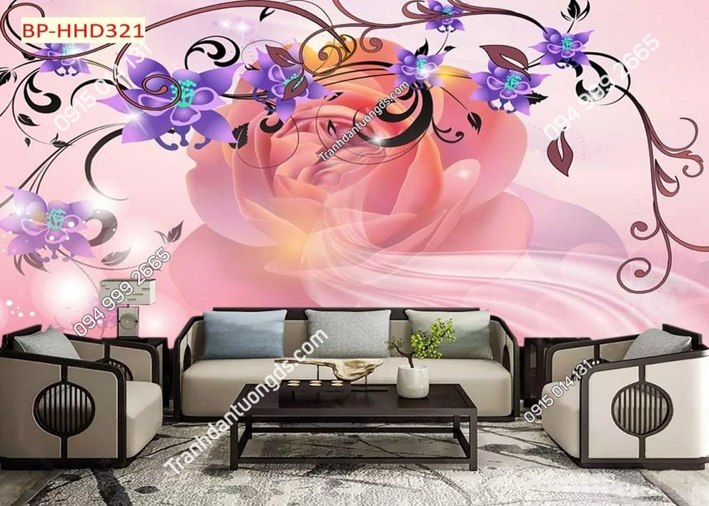Tranh dán tường hoa 3D màu tím HHD321