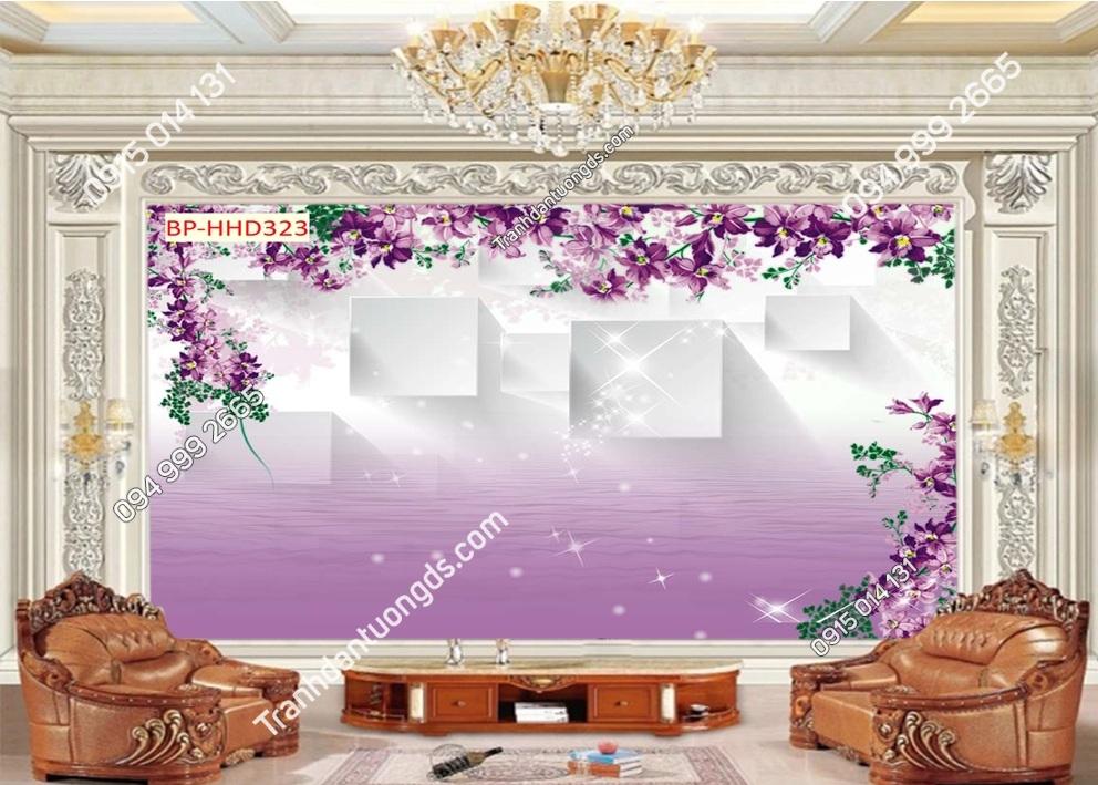 Tranh dán tường hoa 3D màu tím HHD323