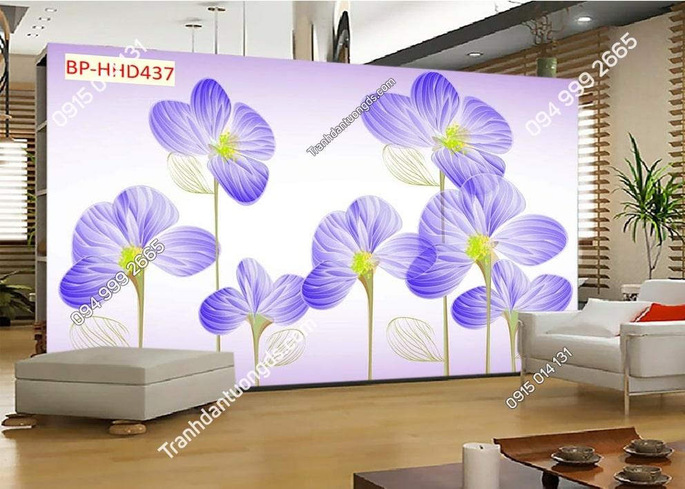 Tranh dán tường hoa 3D màu tím HHD437