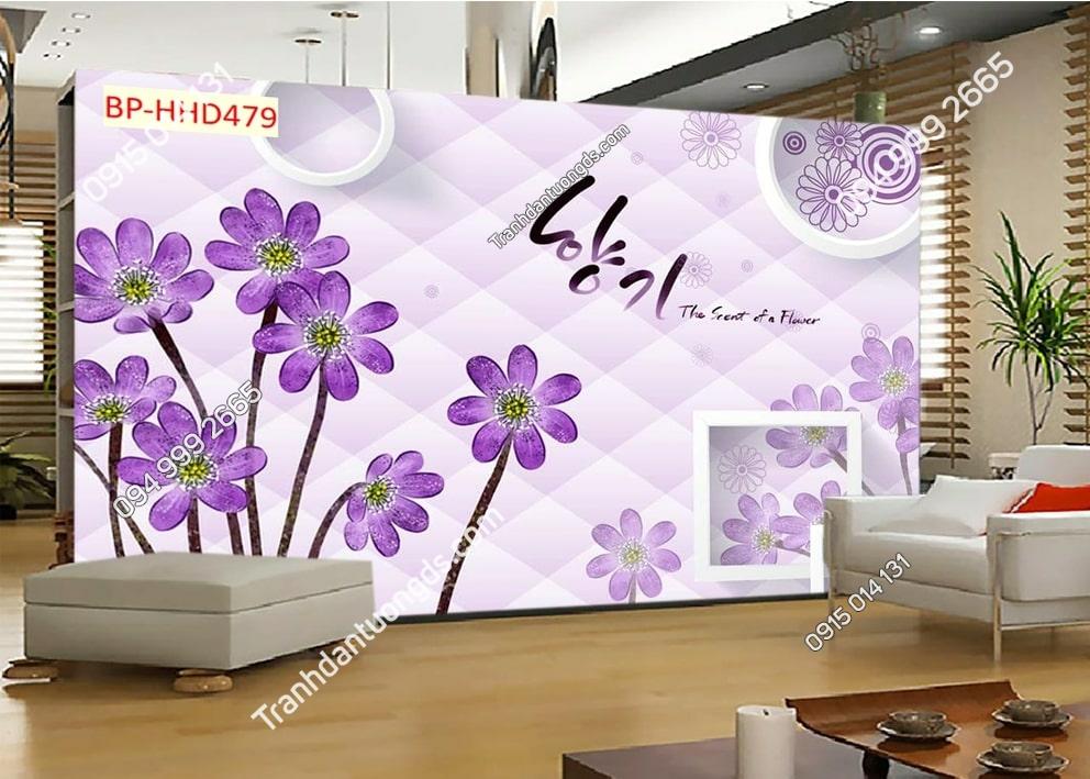 Tranh dán tường hoa 3D màu tím HHD479