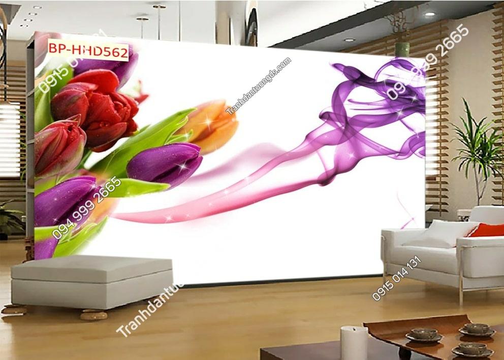 Tranh dán tường hoa 3D màu tím HHD562