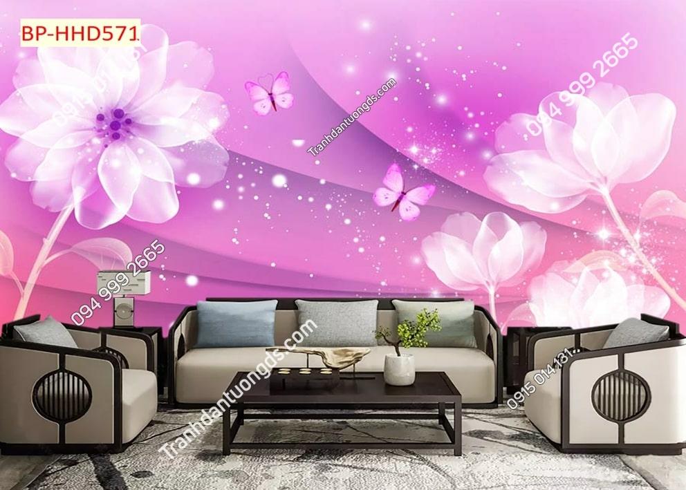 Tranh dán tường hoa 3D màu tím HHD571