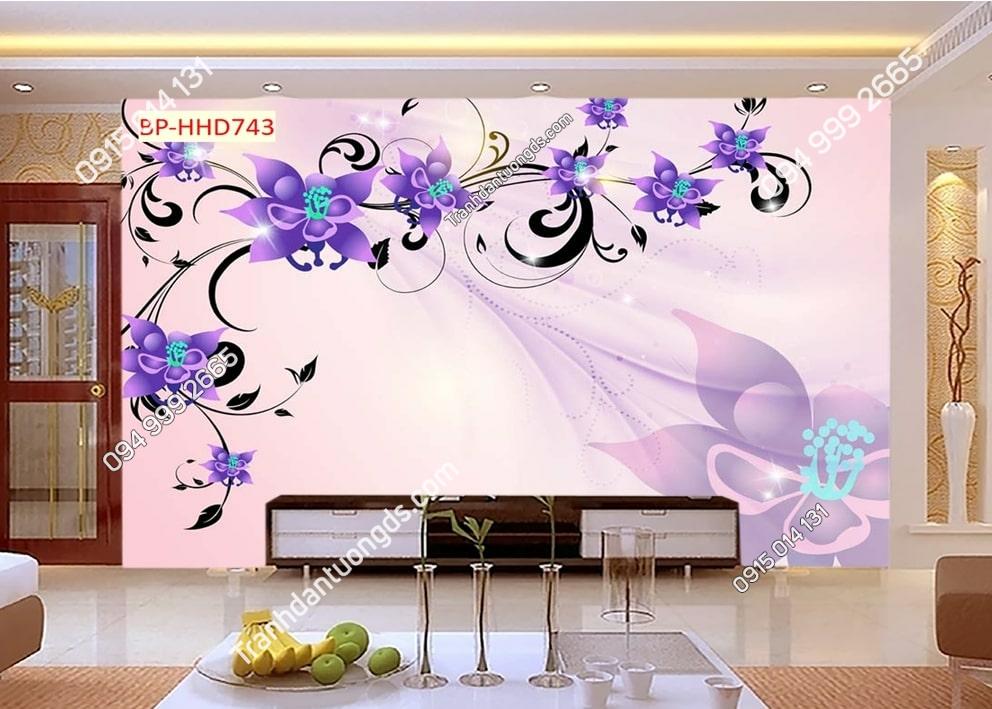 Tranh dán tường hoa 3D màu tím HHD743