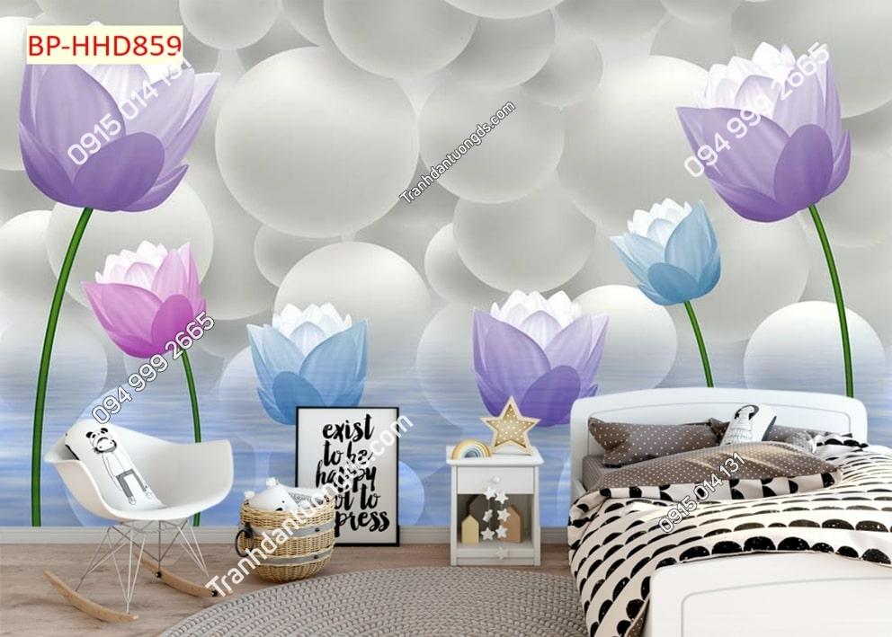 Tranh dán tường hoa 3D màu tím dán phòng ngủ HHD859