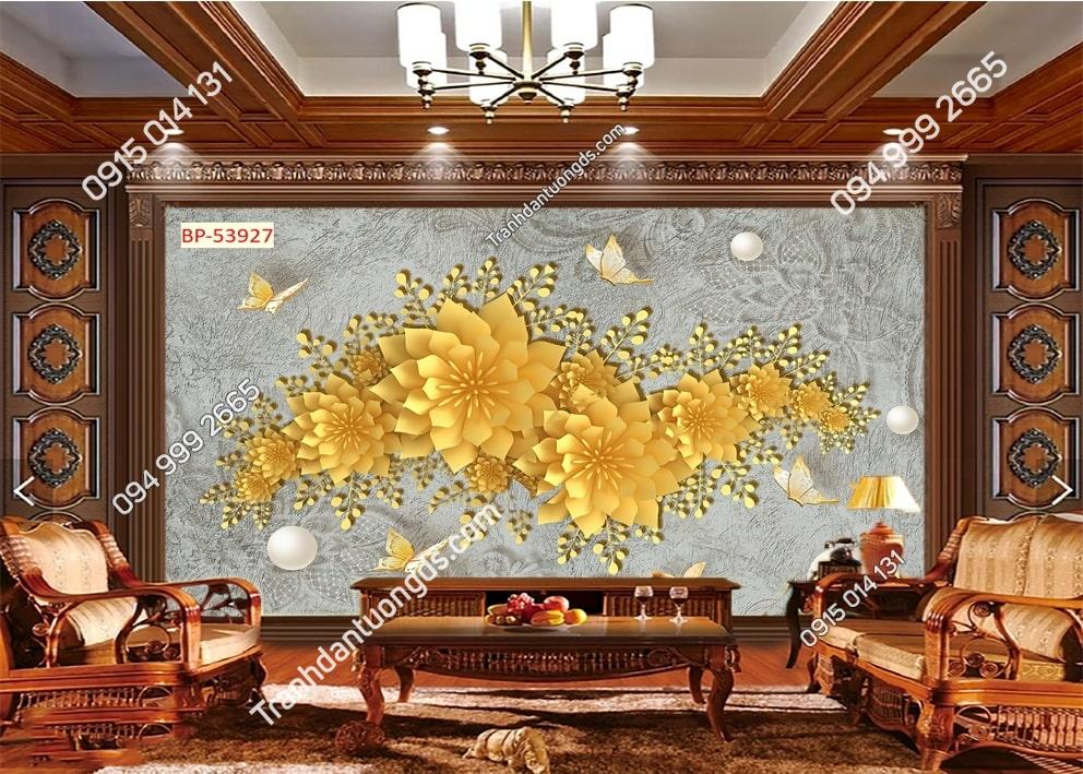 Tranh dán tường hoa 3D màu vàng 53927