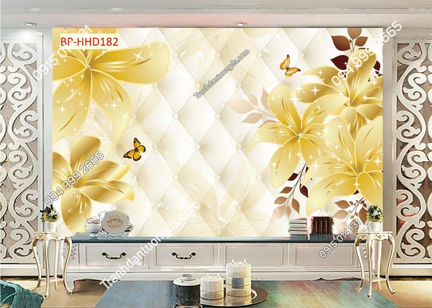 Tranh dán tường hoa 3D màu vàng HHD182