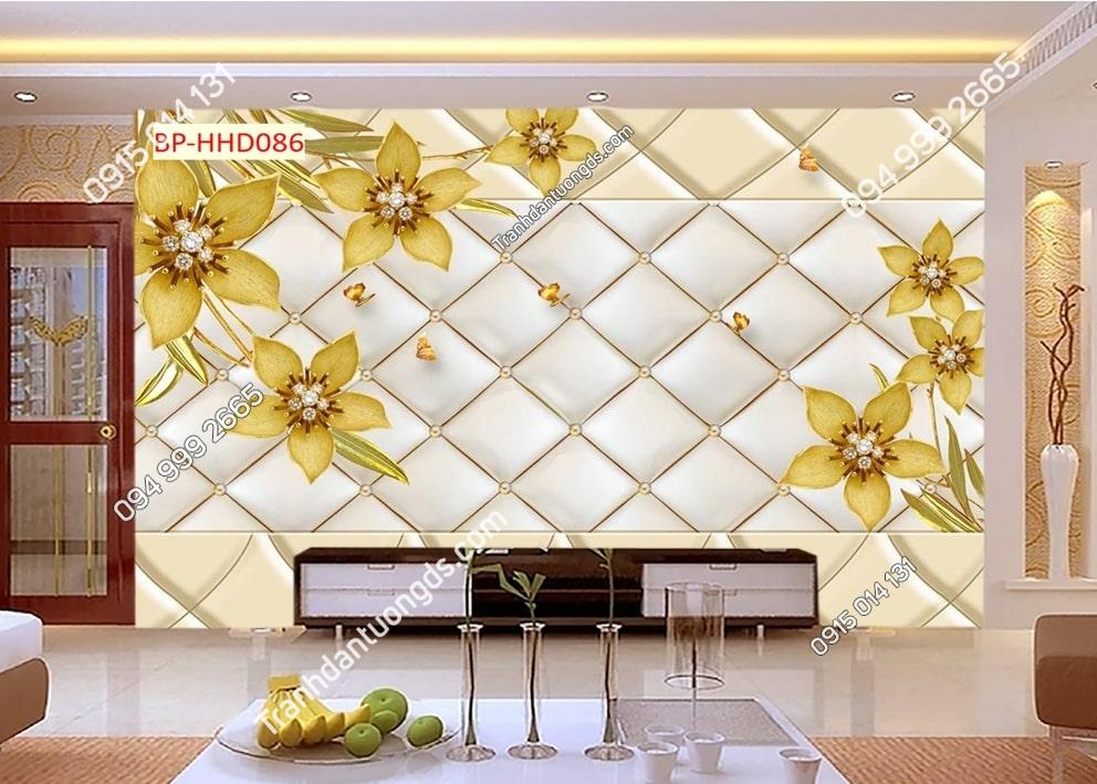 Tranh dán tường hoa 3D màu vàng dán phòng khách HHD086