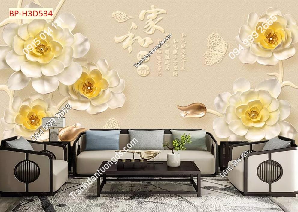 Tranh dán tường hoa 3D nhụy vàng H3D534
