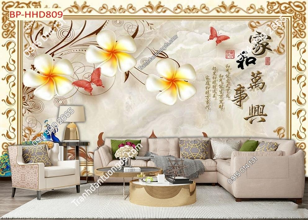 Tranh dán tường hoa 3D nhụy vàng HHD809