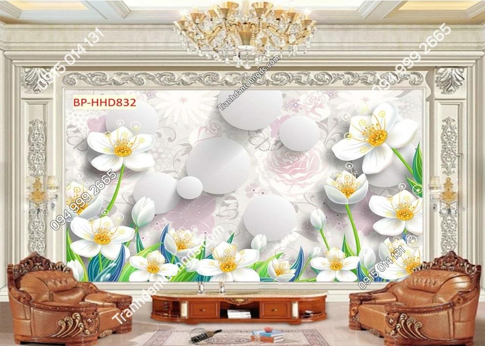 Tranh dán tường hoa 3D nhụy vàng HHD832
