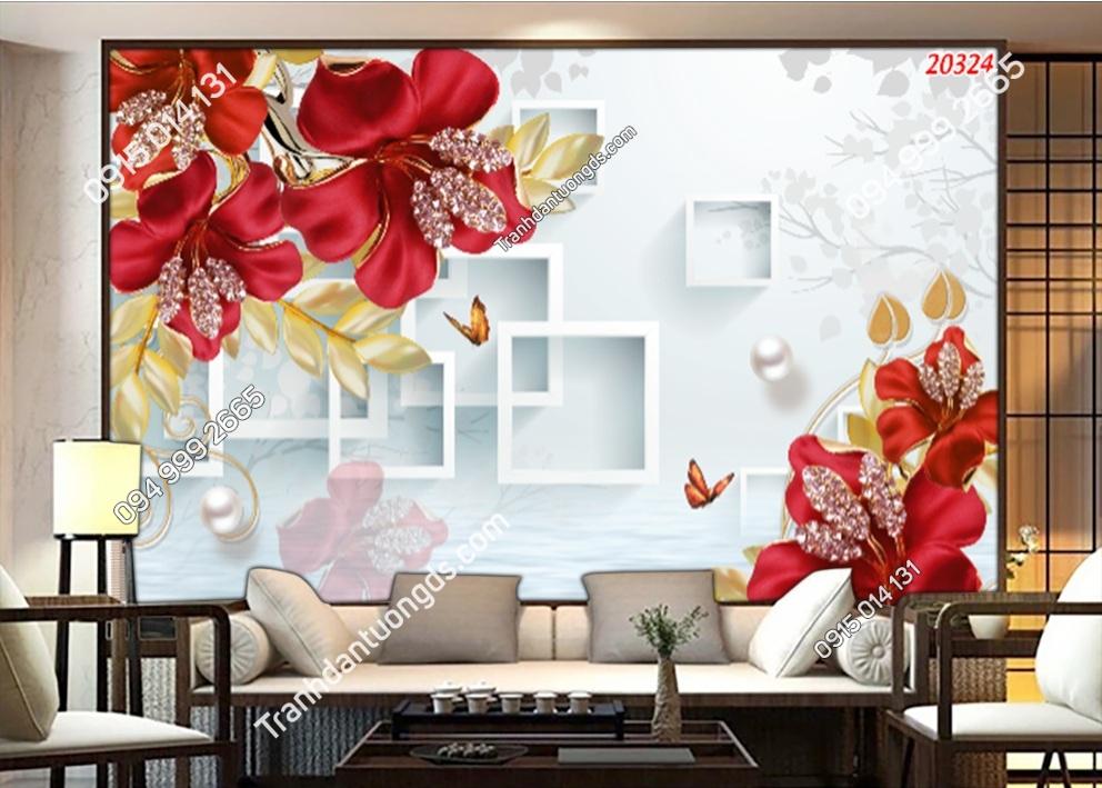 Tranh dán tường hoa 3D phòng khách màu đỏ 20324