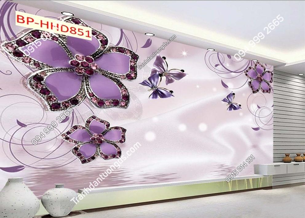 Tranh dán tường hoa 3D phòng khách màu tím HHD851