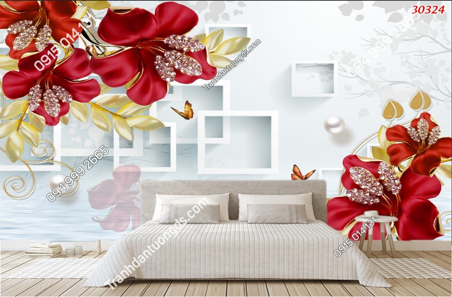 Tranh dán tường hoa 3D phòng ngủ màu đỏ 30324