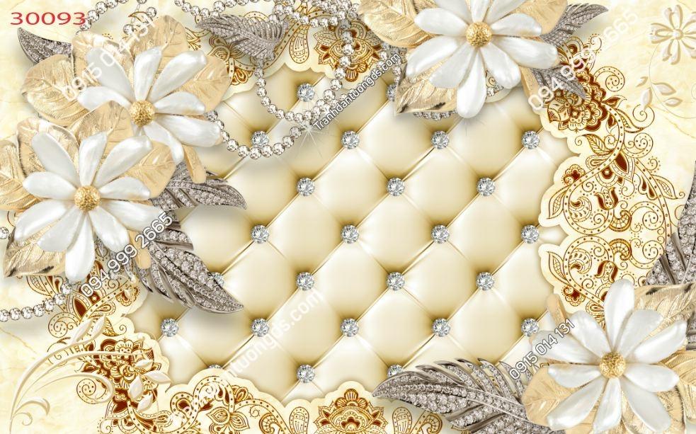Tranh dán tường hoa 3D trắng giả ngọc 30093