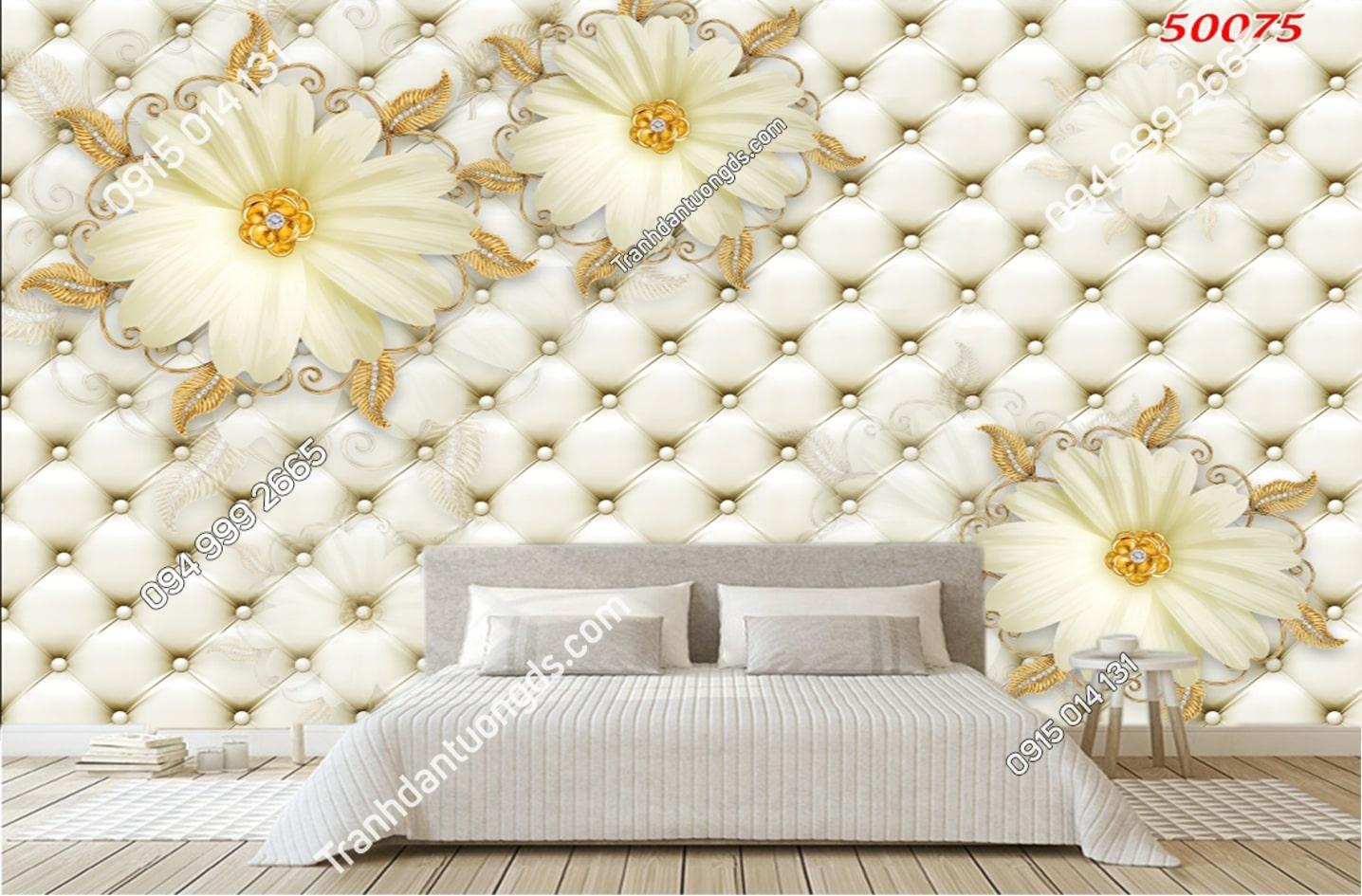 Tranh dán tường hoa 3D trắng giả ngọc 50075